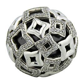 David Yurman Quatrefoil Sterling Silver Diamond and Black Tahitian Pearl Ring 7.25