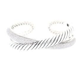 David Yurman Sterling Silver 2.25ct Diamond Crossover Cable Cuff Bracelet
