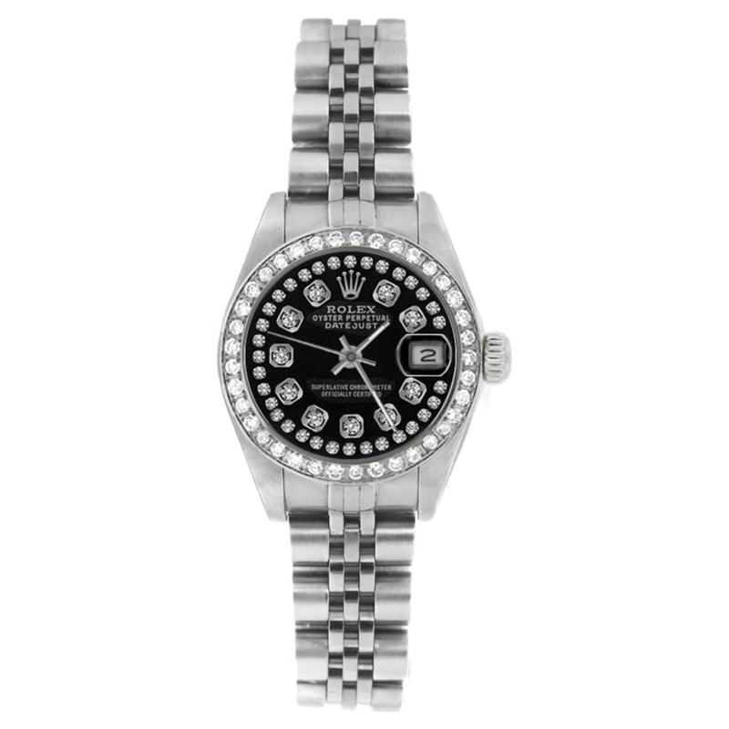 """Image of """"Rolex Datejust 69174 Stainless Steel Black String Diamond Dial & Bezel"""""""