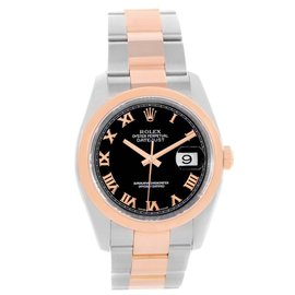 Rolex Datejust 116201 Stainless Steel & 18K Rose Gold Black Roman Dial 36mm Unisex Watch