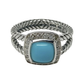 David Yurman Petite Albion 925 Sterling Silver Turquoise and Diamonds Ring Size 6