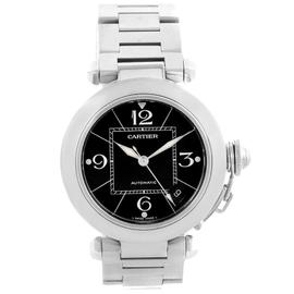 Cartier Pasha C W31076M7 Black Dial & Stainless Steel Date 35mm Womens Watch
