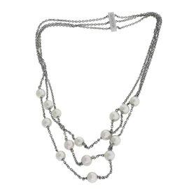 Mikimoto 18K White Gold Pearl Circle Tripple Strand Necklace