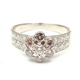 Van Cleef & Arpels 18K White Gold 1.14ct. Diamond Ring Size 7