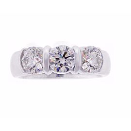 Tiffany & Co. Platinum Three Stone Diamond Ring Size 6.5