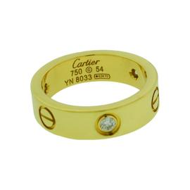 Cartier 18K Yellow Gold with Diamonds Love Ring Size 6.75