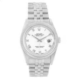 Rolex Datejust 16234 Stainless Steel & 18K White Gold White Roman Dial 36mm Mens Watch