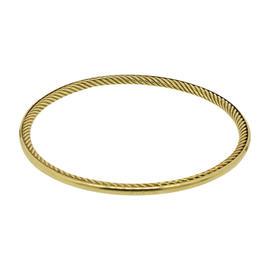 David Yurman 18K Yellow Gold Cable Classic Inside Bangle Cuff Bracelet