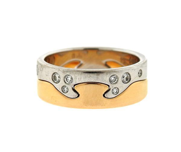 "Image of ""Georg Jensen 18K White & Yellow Gold Denmark Diamond Puzzle Ring Set"""
