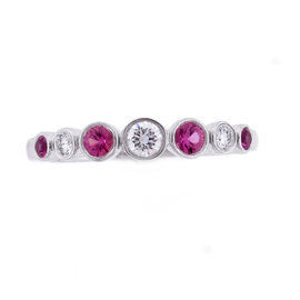 Tiffany & Co. Platinum Pink Sapphire and Diamond Jazz Ring Size 5.5