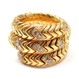 Bulgari 18K Yellow Gold Spiga 0.60ct. Diamond Ring Size 6
