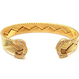 Cartier 18K Yellow Gold Double C Diamond Basket Weave Cuff Bracelet Size 6.75
