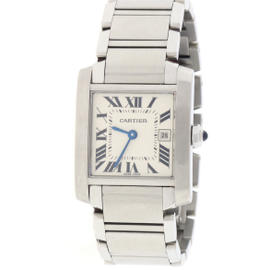Cartier Tank Francaise 2465 Stainless Steel Silver Roman Dial 25mm Unisex Watch