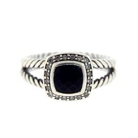 David Yurman 925 Sterling Silver Black Onyx Split Albion Diamond Ring Size 6.75