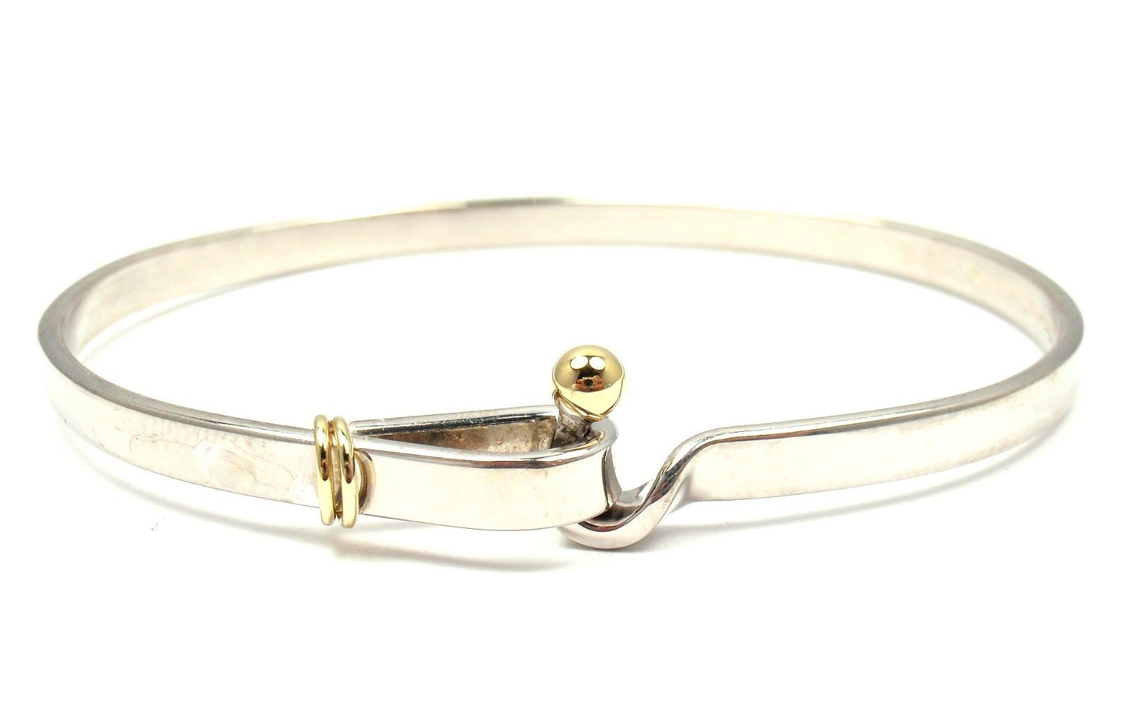 "Image of ""Tiffany & Co. 925 Sterling Silver 18K Yellow Gold Hook Eye Bangle"""