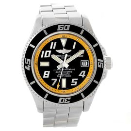 Breitling Superocean A17364 Stainless Steel Black Yellow Dial Automatic 42mm Mens Watch