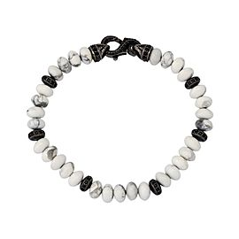 Stephen Webster 925 Sterling Silver Thorn Howlite & Pave Black Sapphire Beads Bracelet