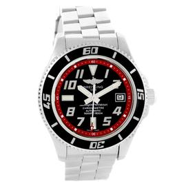 Breitling Superocean A17364 Stainless Steel Black and Red Dial 42mm Mens Watch