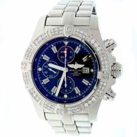 Breitling Super Avenger A13370 Stainless Steel & Black Dial 48mm Mens Watch