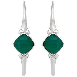Stephen Webster 925 Sterling Silver Superstud Green Crystal Haze Hoop Earrings