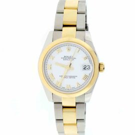 Rolex Datejust 178243 18K Yellow Gold & Stainless Steel White Roman Dial 31mm Unisex Watch