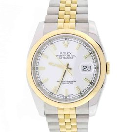 Rolex Datejust 116203 18K Yellow Gold & Stainless Steel White Dial 36mm Mens Watch