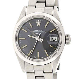 Rolex Date Stainless Steel & Rhodium Index Dial Automatic 26mm Womens Watch