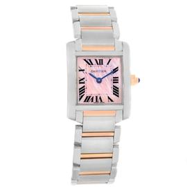 Cartier Tank Francaise W51027Q4 Stainless Steel & 18K Rose Gold 20mm Womens Watch