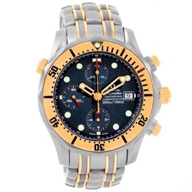 Omega Seamaster 2297.80.00 Titanium 18K Yellow Gold Blue Dial 41.5mm Mens Watch