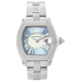Cartier Roadster W62053V3 Stainless Steel & Blue Dial 30mm Womens Watch