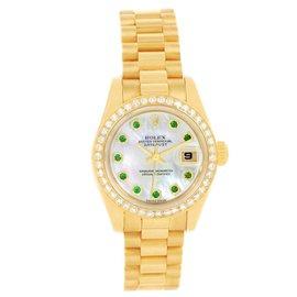 Rolex President 179138 18K Yellow Gold Diamond Emerald 26mm Womens Watch