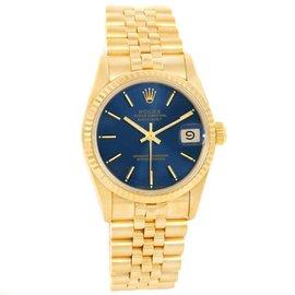 Rolex President Datejust 68278 18K Yellow Gold Blue Dial 31mm Unisex Watch