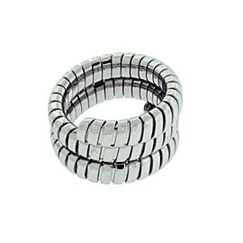 Bulgari Tubogas 18K White Gold Ring Size 7