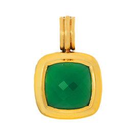 David Yurman 925 Sterling Silver and 18K Yellow Gold Green Onyx Albion Pendant