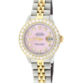 Rolex Datejust 18K Yellow Gold & Stainless Steel Pink Mother Of Pearl Dial 26mm Womens Watch