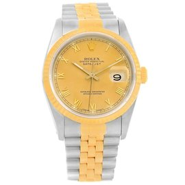 Rolex Datejust 16233 Stainless Steel & 18K Yellow Gold Roman Numerals 36mm Mens Watch