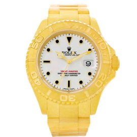 Rolex Yachtmaster 16628 18K Yellow Gold White Dial 40mm Mens Watch