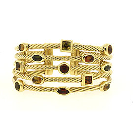 David Yurman 18K Yellow Gold with Garnet, Citrine and Quart Cuff Bracelet
