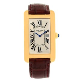 Cartier Tank Americaine 1735 18K Yellow Gold Manual 27mm Mens Watch