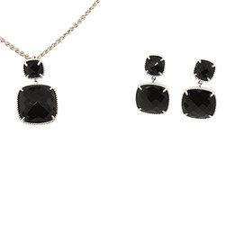 Effy 925 Sterling Silver & Onyx Dangle Earrings & Pendant Necklace Set