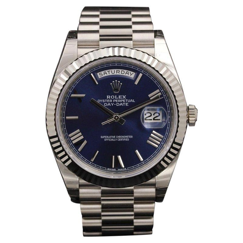 "Image of ""Rolex Day-Date 228239 Blue Roman Dial Stainless Steel 40mm Mens Watch"""