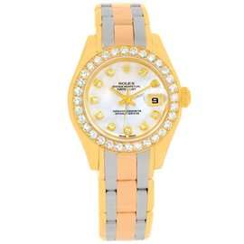 Rolex Pearlmaster 69298 18K Yellow, White and Rose Gold Tridor Mother of Pearl Diamond 29mm Womens Watch