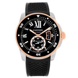 Cartier Calibre Diver W7100055 Stainless Steel & Rose Gold Rubber Strap 42mm Mens Watch