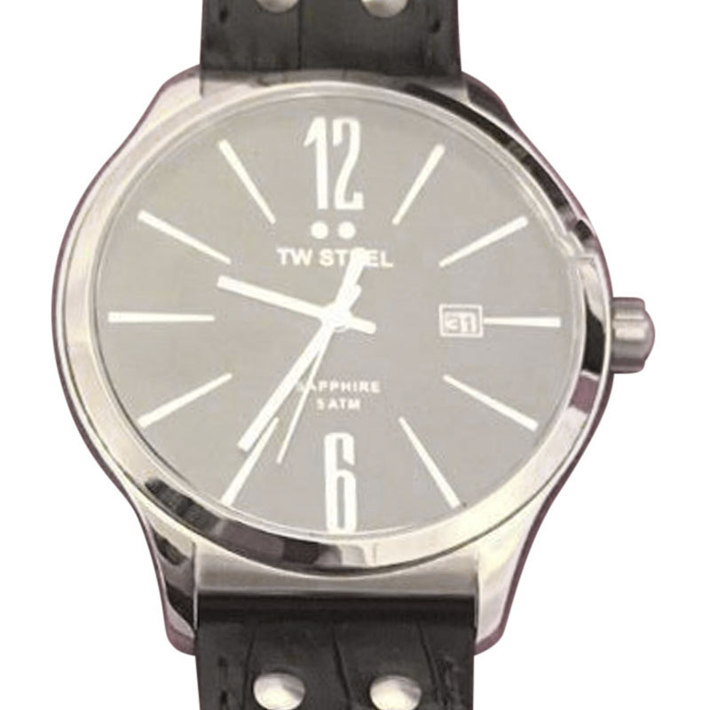 "Image of ""TW Steel Slim Line Tw1300 Stainless Steel & Black Dial 45mm Mens Watch"""