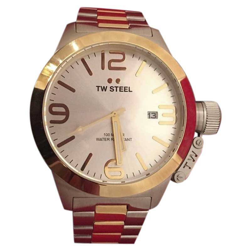 "Image of ""TW Steel Canteen Cb32 Stainless Steel & Gold 50mm Mens Watch"""