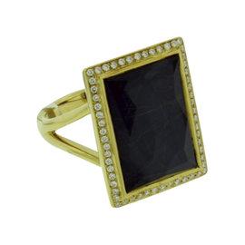 Ippolita 18K Yellow Gold with Diamond, Rutilated Quartz and Hematite Ring Size 7