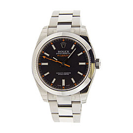 Rolex Milgauss 116400 Stainless Steel Black Dial Smooth Bezel 40mm Mens Watch