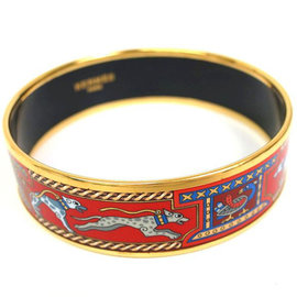 Hermes Cloisonne & Palladium Bangle Bracelet