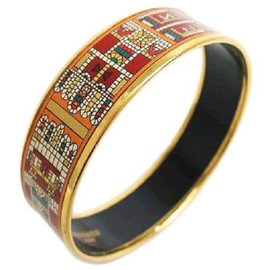 Hermes Cloisonne & Palladium Enamel Wide Bangle Bracelet