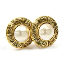 Chanel Gold Tone Hardware & Imitation Pearl Earrings